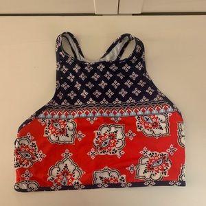 Multi colored pattern halter bikini top